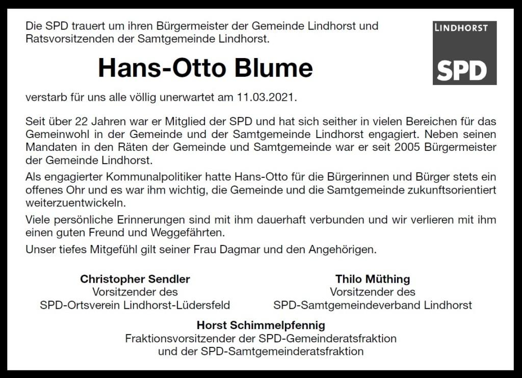 Trauer Hans-Otto Blume